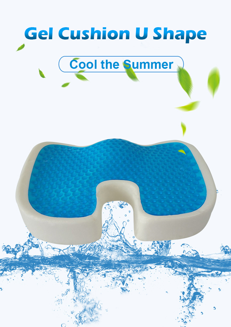 PurenLatex 4636 U Shape Silicone Gel Cushion Memory Foam Pillow Coccyx Protect Slow Rebound Summer Cool Chair Cushion Seat Mat-xq (1)