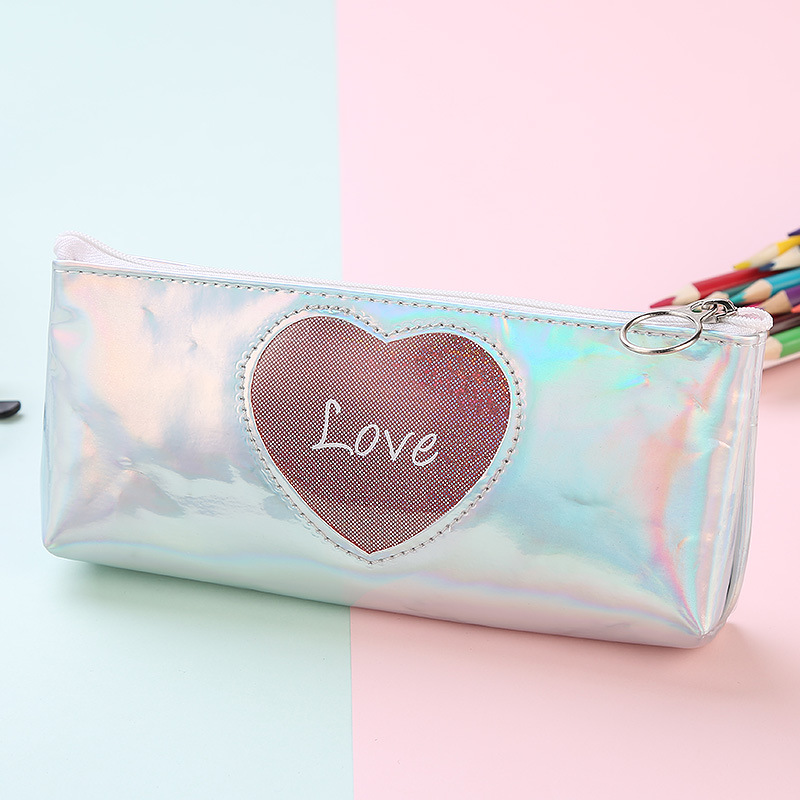 Laser love pencil case leather simple student storage pencil stationery bag in Pencil Bags from Office School Supplies