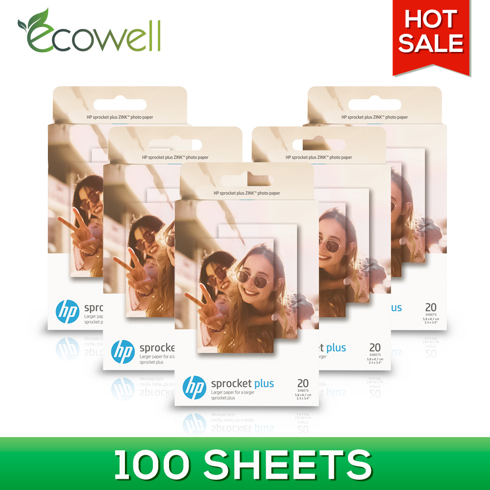 Ecowell 5 8 8 7cm 2 3x3 4 inch Zink Photo Paper for HP Sprocket Plus