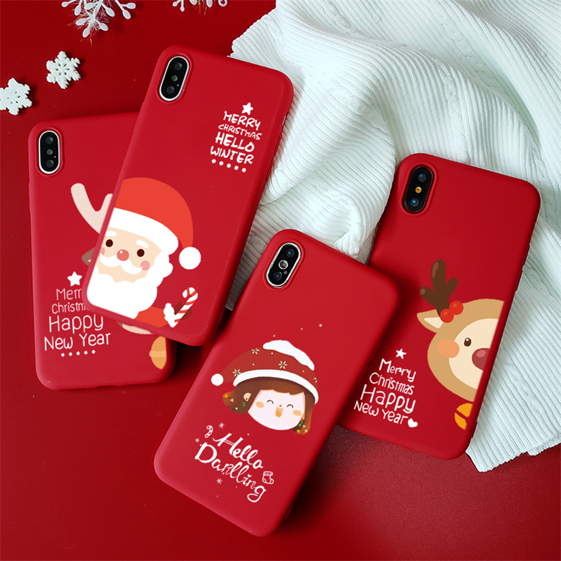 Red Matte TPU Deer Phone Cases For iPhone XR Case For iPhone 5 5S SE 7 8 6 S 6S Plus 11 Pro X XS Max Christmas Santa Claus Cover image