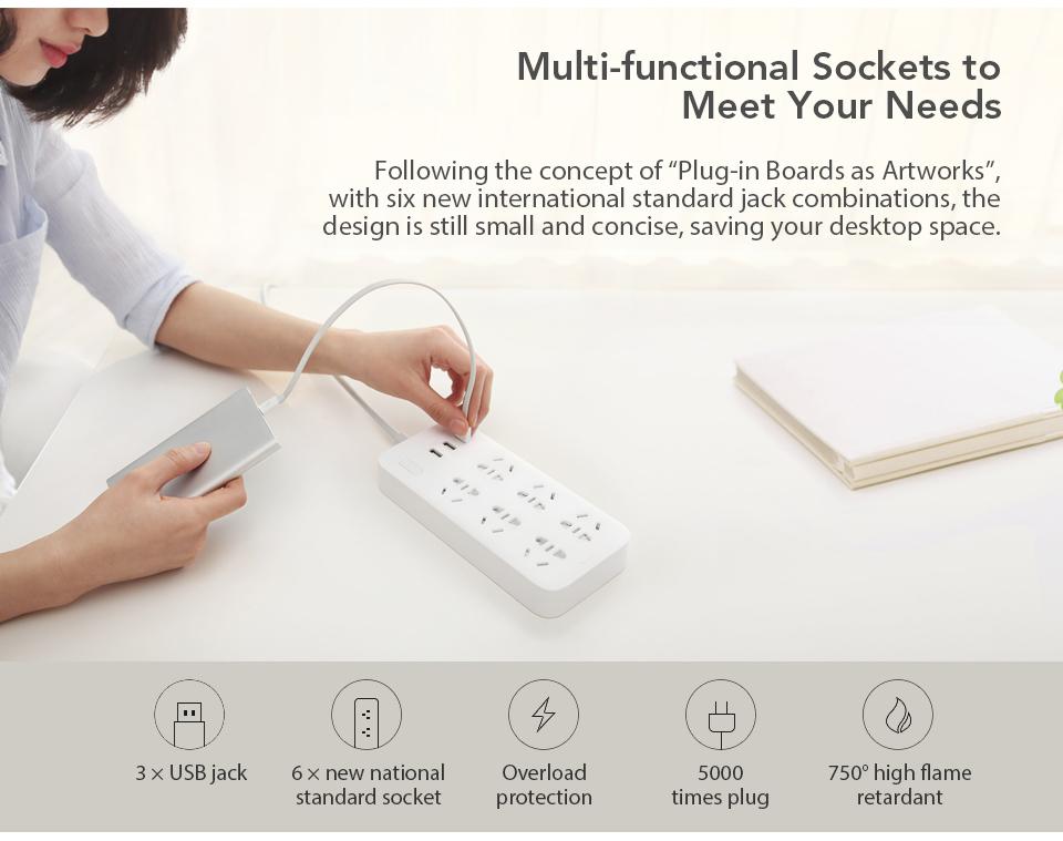 Original Xiaomi Mijia Power Strip Basic Version 6 Sockets With 3 5V 2.1A Fast Charging USB Ports White Mi Socket (2)
