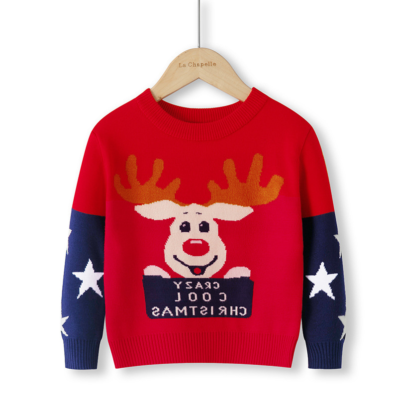 Children Sweater 2021 Autumn Cartoon Christmas Pullover Knit Warm Sweaters Birthday Costume Girls Boys Printing Sweaters Clothes 5