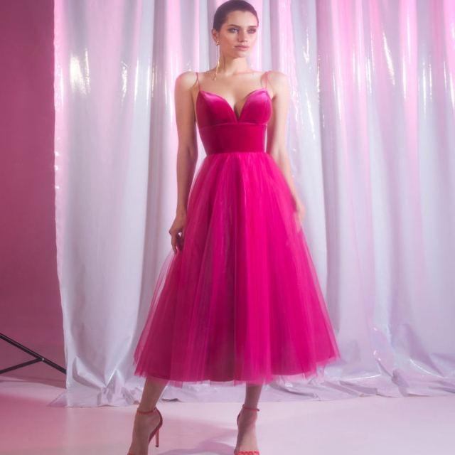 2020 New Fuchsia Cocktail Dresses With Straps A Line Tulle Tea Length Prom Dress Lining Custom Made Cheap Vestidos De Cóctel