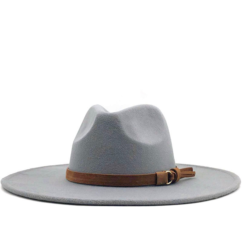 Simple British Style Winter Wool Solid Classic Fedoras Cap Men Women Panama Jazz Hats 9.5CM Wide Brim Big Fedoras