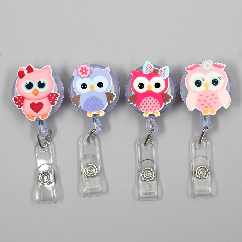 Creative Candy Color Owl Resin Retractable Badge Reel Nurse Doctor Student Exhibition ID Card Clips Badge Holder Stationery