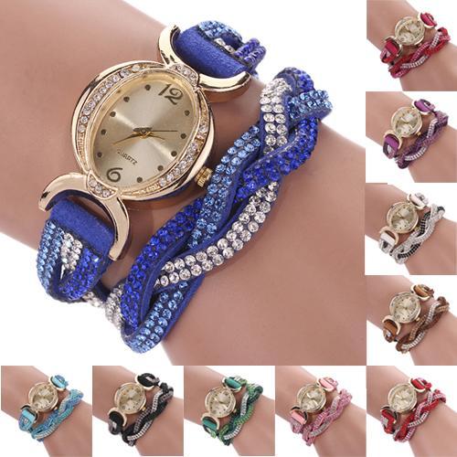 Woman Watch Women's Rhinestone Faux Suede Alloy Braid Oval Dial Quartz Bracelet Wrist Watch Relogios Reloj Mujer Ladies Dress Wa
