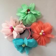 1 Pcs/lot Girls Headwear Chiffon Flower Headbands Lovely Pearl Hair Accessories Rope Tied Women Elastic