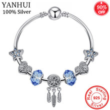 Big Promotion 925 Sterling Silver Blue Star Charm Bracelet Round Clasp Heart Crystal Beads Bracelet For Women Girl Birthday Gift(China)