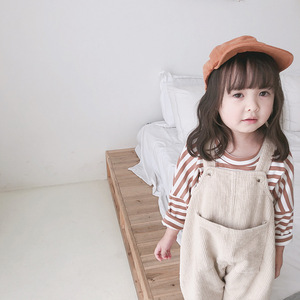 Image 5 - 2020 Spring Korean style baby girls corduroy loose overalls cute kids casual all match suspender trousers bib pants