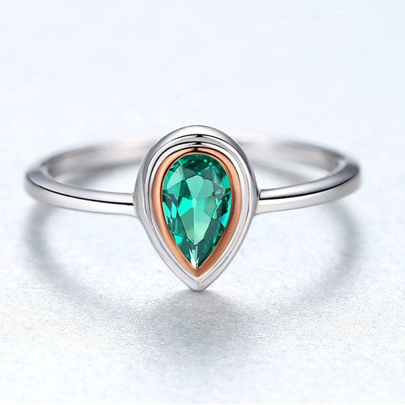 Hd1bb66a4676142a3b6f9d3996567f192G Jellystory Hot Selling Water Drop Shape Green Emerald Gemstone 925 Silver Ring for Woman Wedding Engagement Party Jewelry Rings