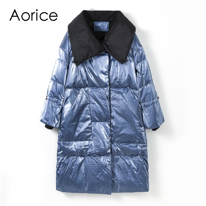 Aorice XM904 Women Winter Waterproof Coat New Fabric 90% Duck Down 7 Point Sleeve Oversize Lady Fashion Causal Long Jacket Parka