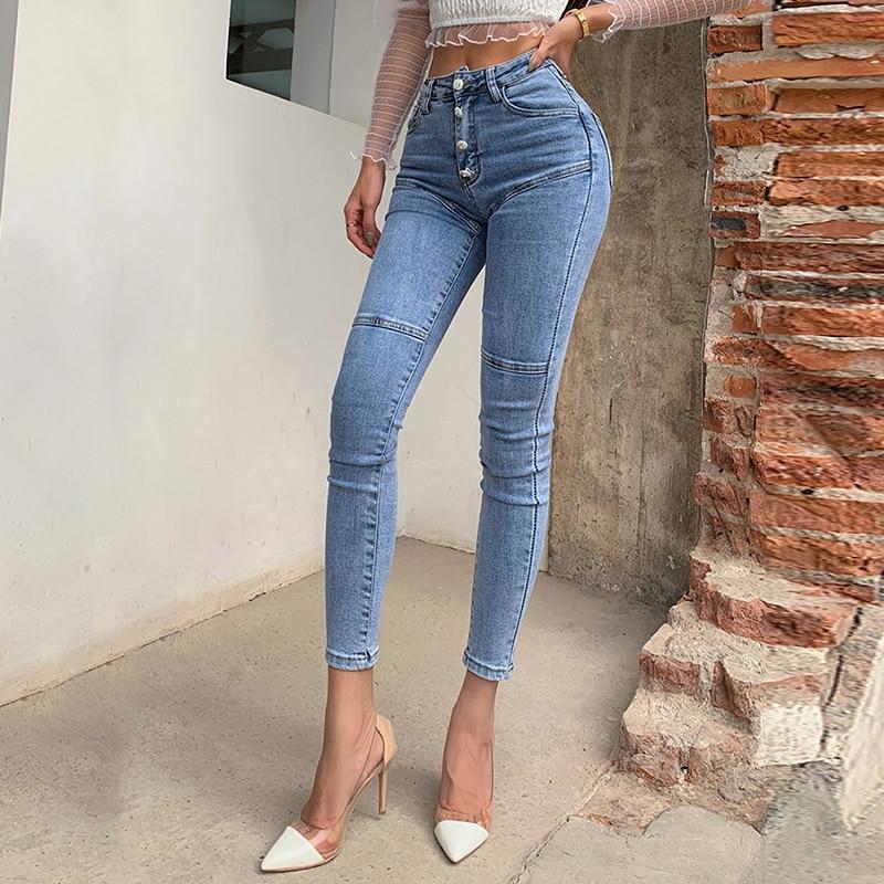 Spring / Summer 2020 New Jeans Women's High Waist Stretch Hip Slim Fit Skinny Skinny Feet Nine Points Pencil Pants