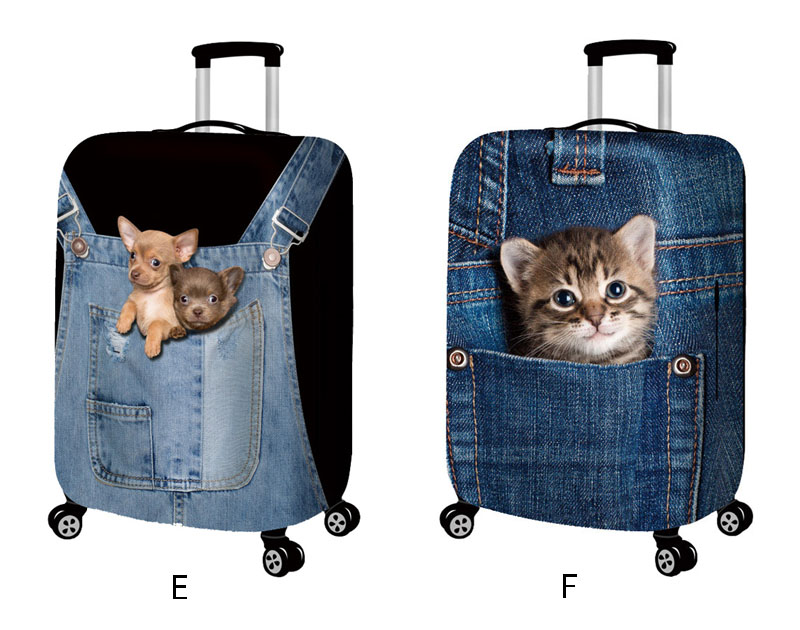 18-32inch Blue Cowboy Cat Dog Travel Suitcase Luggage Protective Covers Trolley Elastic Dust Cover Baggage Case Cover