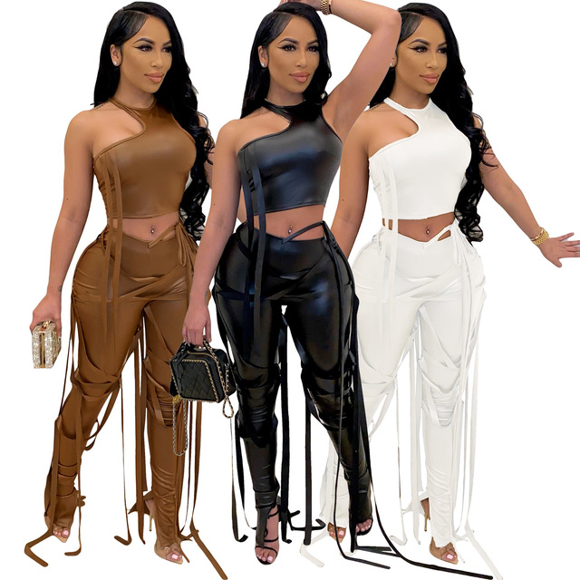 Adogirl Pu Two Piece Set Women Sexy Ribbons Cut Out Slim Crop Top+Chic Tight Pant High Streetwear Casual Night Club Outfits 1