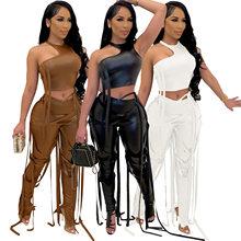 Adogirl-Conjunto de dos piezas de Pu para mujer, Top corto ajustado con cintas, pantalones ajustados, ropa de calle alta, trajes de Club nocturna informal
