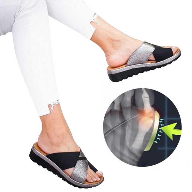 2020 נשים מלאכותי נעלי כפכפים אורטופדי פיקה מתקן קומפי פלטפורמת גבירותיי מקרית גדול הבוהן תיקון סנדלי