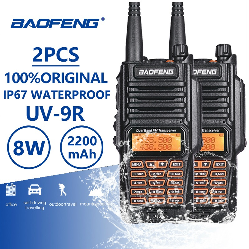 2pcs Baofeng UV-9R 8W 2200mAh Waterproof Walkie Talkie Uhf Vhf IP67 Ham Amateur CB Radio UV9R Toki Woki Mount Mobile UV 9R