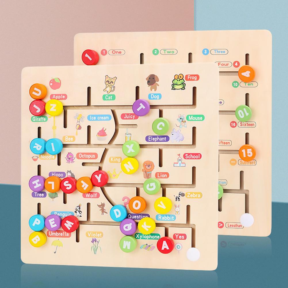 Детский лабиринт, алфавит, игра, деревянная головоломка, Обучающие игрушки, лабиринт, игрушки, интеллектуальная доска для детей, Ранняя