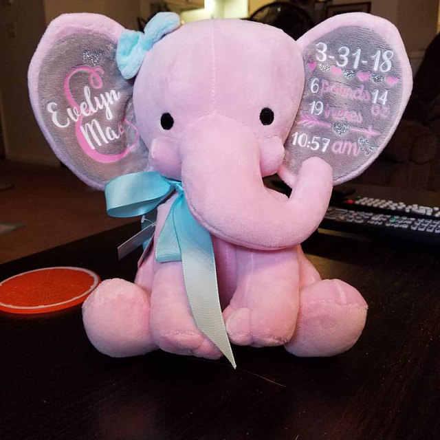 Birth Announcement Stuffed Elephant Large Eared Stuffed Animal Monogram Baby Boy Baby Girl Infant Birth Gift