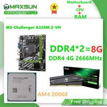 MAXSUN-placa base para ordenador de escritorio, Combo AM4 A320M.2-VH Challenger AMD DDR4 4G 2666MHz, ranura de memoria, Rams CPU AM4 200GE VGA