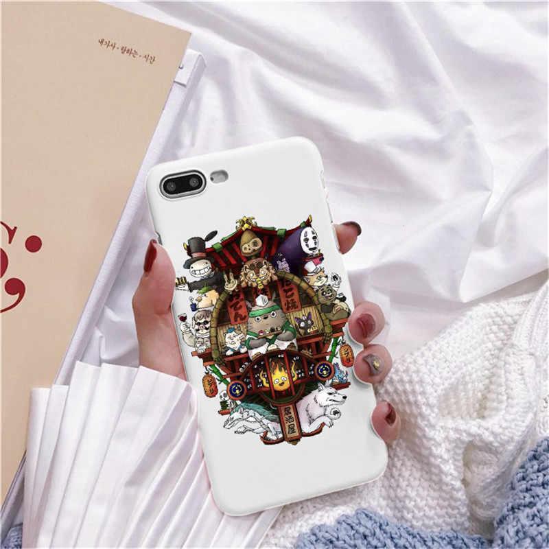 Bonito Totoro Ghibli Miyazaki Anime A Viagem de Chihiro Kaonashi Soft TPU Caso de Telefone Claro Para iPhone 7 8 Plus 6 5 Max 4