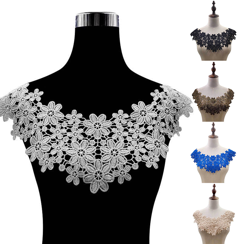 Hot Floral Lace Collar Fabic Embroidered Applique Patch Neckline Lace Fabric Sewing On Supplies Scrapbooking Fake Collar Patches
