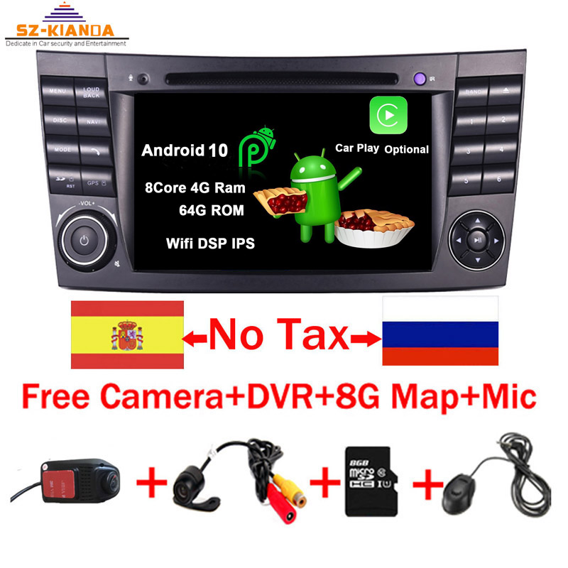 2020 Latest Android 10.0 IPS Touch Screen Car DVD Player For <font><b>Mercedes</b></font> <font><b>Benz</b></font> E-Class W211 E200 E220 E300 <font><b>E350</b></font> Quad Core Wifi Radio image