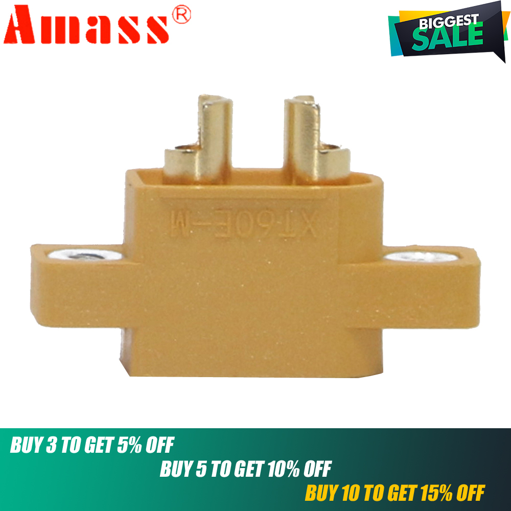 XT60E,5pcs/lot AMASS XT60E-M XT60 Male Plug Connector For Racing Models/Multicopter Fixed Board/ DIY Spare Part