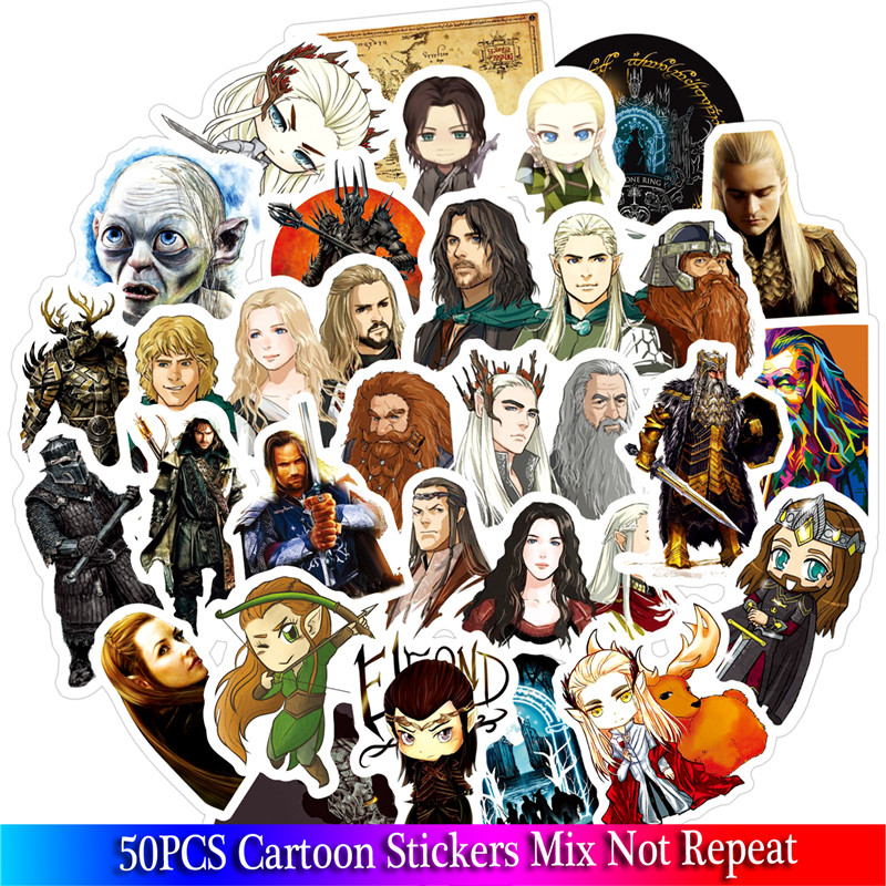 50 Pcs/lot Classic Movies Hobbit Stickers Set PVC Stickers Toys Decor For Car Laptop Pad Phone Trunk Guitar