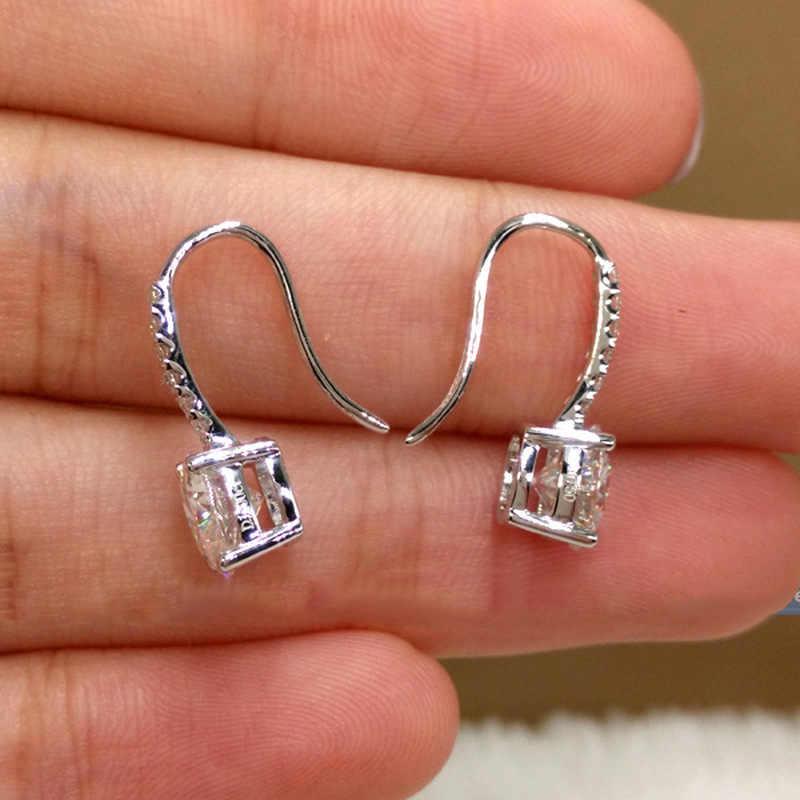 2019 hot new 925 sterling silver produkty kwadratowe małe super flash cyrkon kolczyki okrągłe kolczyki uszu gorąca sprzedaż kolczyki dla kobiet