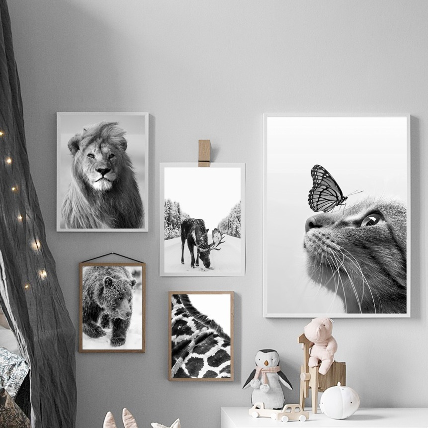 Czarny biały żyrafa niedźwiedź lew kot jeleń obraz ścienny na płótnie Nordic plakaty i druki zdjęcia ścienny do wystrój salonu