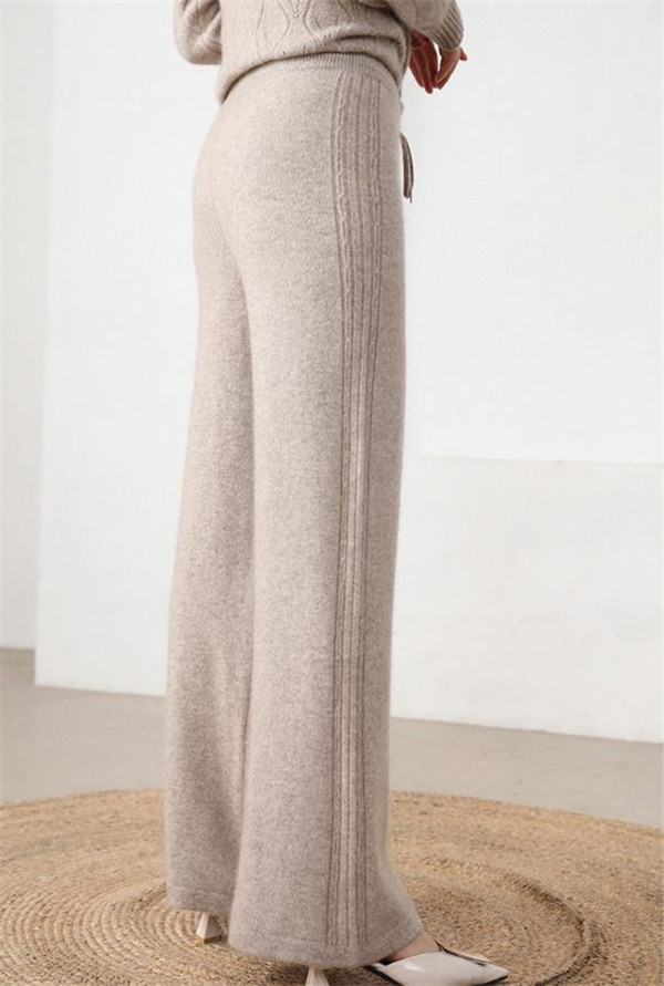 Pure Goat Cashmere Add Thick Knit Women Wide Leg Pants Full Long Trousers Drawstring High Waist M/L