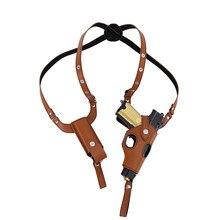 Táctico faja para Arma Oculta funda Cuero militar funda de axila para la mano derecha Glock 17 Beretta bolsa para pistola de caza con Mag bolsa