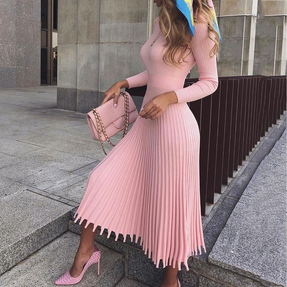 elegante partei plissee pullover midi kleid frauen 2019 winter herbst rosa  büro damen gestrickte vestido sexy dünne plus größe kleider