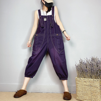 Púrpura Cargo Jumpsuits mujer verano ropa de calle fina overoles Patchwork bolsillo Suspender harem pantalones holgado mono de pierna ancha
