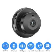 Mini 180 graus panorâmica wifi câmera 960p hd sem fio de segurança em casa inteligente câmera ip visão noturna ir monitor do bebê app visão