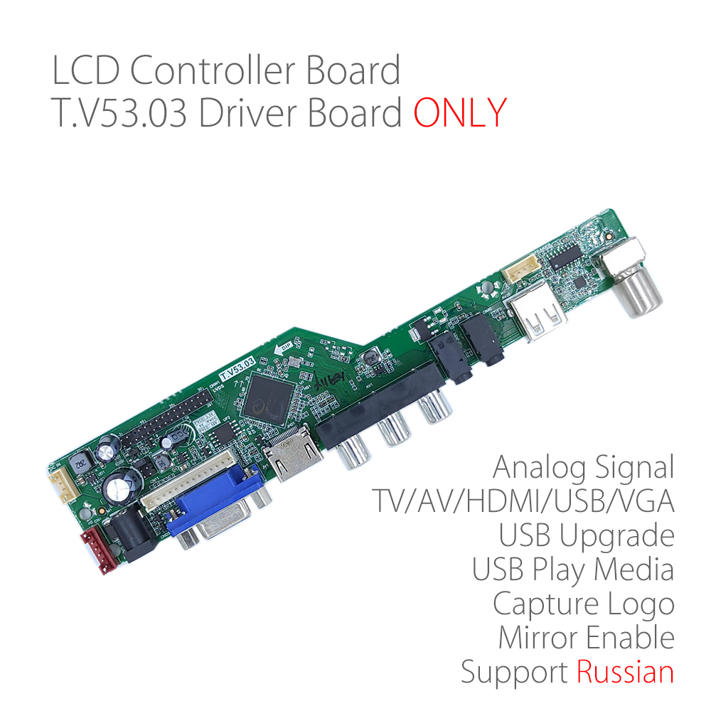 T.V53.03 Universal LCD LED TV Controller Driver Board TV/PC/VGA/HDMI/USB Interface Matrix replace SKR.03 RD8503.03 Russian(China)