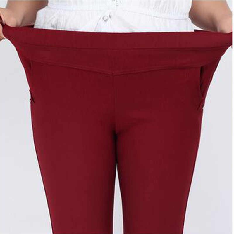Clobee extra grande 6xl calças femininas capris calças de cintura alta estiramento lápis calças magras para mulher pantalon sarouel femme