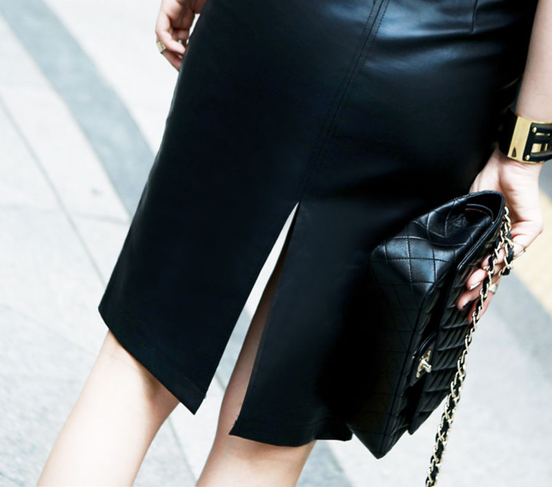 Aachoae Black PU Leather Skirt Women 2020 New Midi Sexy High Waist Bodycon Split Skirt Office Pencil Skirt Knee Length Plus Size 61
