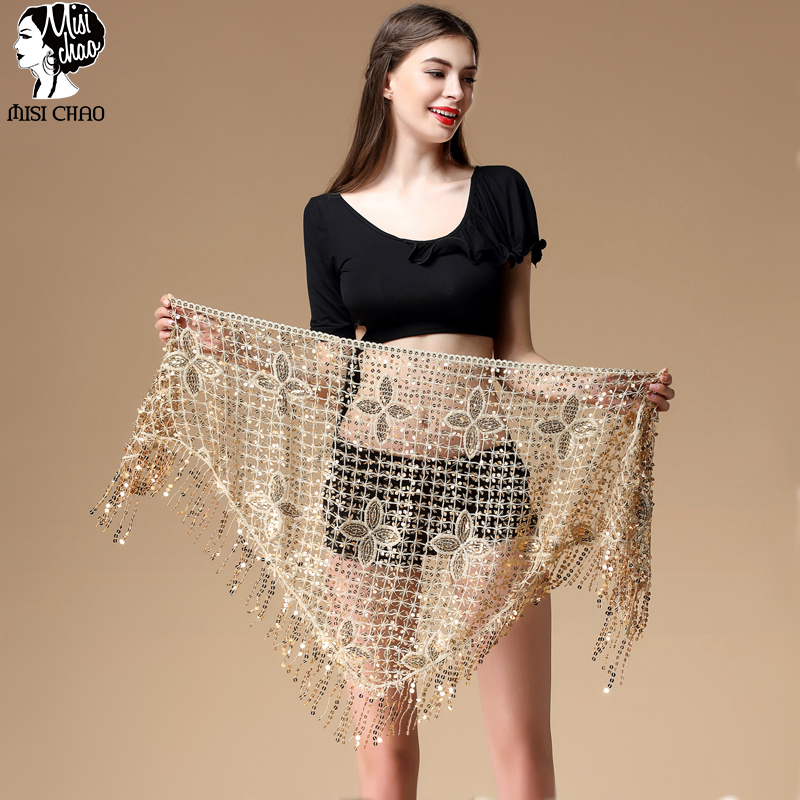 Belly Dance Costume Peacock Sequin Hip Scarf Belt Tribal Triangle Shawl 4 colors