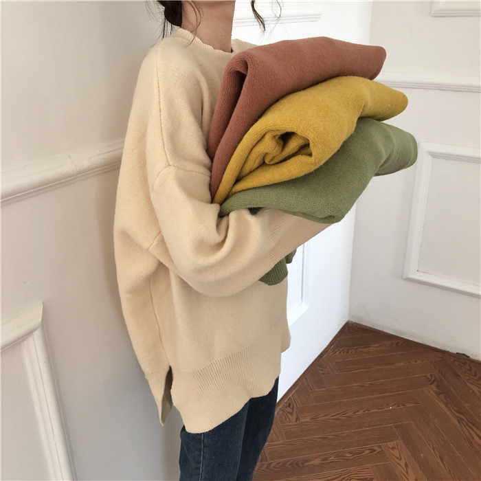 Long Sleeve O-neck 2020 Spring Warm Streetwear Cashmere Harajuku Office Kawaii Pullover Wool Tops Oversized Knitted Sweater