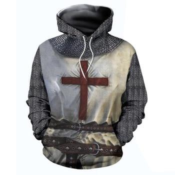 Adult Men Medieval Knights Templar Armor Hoodie Crusader Cross 3D Print Hooded Pullover Halloween Sweatshirt Costume Casual Coat casual cross at back sleevless hoodie sweatshirt in grey