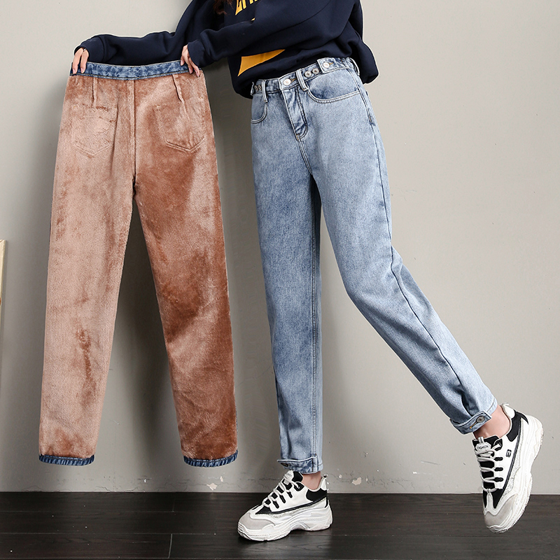 Candy Color Fleece Jeans For Women Winter Thicken Loose Denim Harem Pants Snow Jeans Solid Trousers Warm Bottoms Female P9238