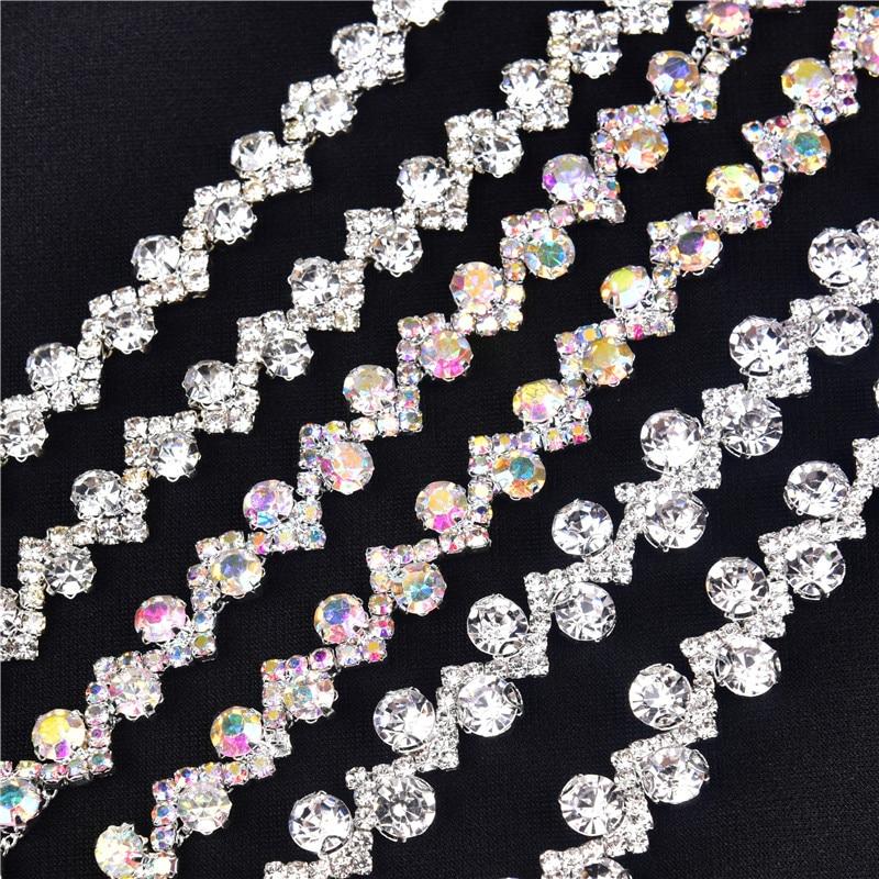 1 Yard AAA-Grade Flower Crystal Clear Round Glass Rhinestone Cup Chain Silver AB Base Dress Belt Trim Applique Sew On Garment
