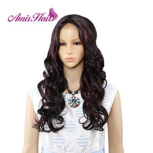 Image 2 - Amir Lange Water Wave Lace Front Synthetische pruiken Voor Zwart Wit Vrouwen Hittebestendige Ombre Zwart Blond Rode Kleur Haar cosplay