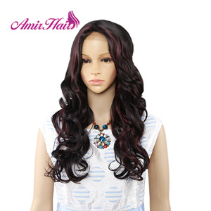Image 2 - Amir perruque Lace Front synthétique ondulée longue pour femmes au teint noir et blanc, coiffure de Cosplay résistante à la chaleur, Ombre noire, Blonde, rouge