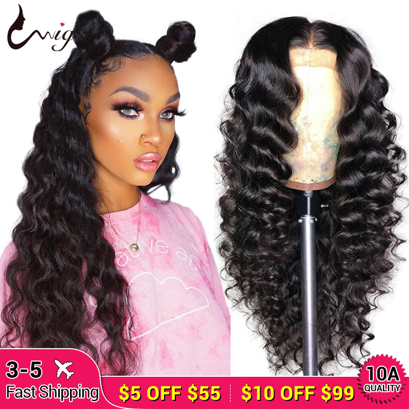 Uwigs Mongolian Loose Deep Wave Wig 180% Density Lace Front Human Hair Wigs For Black Woman 13x6 Lace Front Wig Pre Plcuked Remy
