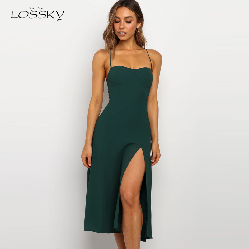 Lossky Sexy Backless Sleeveless Bandage Midi Dress Summer Beach Strapless Dresses Casual Clothes For Women 2020 Green Sundress