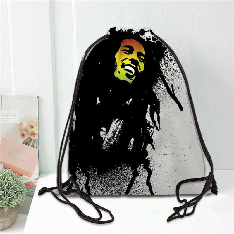 Hot Bob Marley Printed Backpack Drawstring Bag Satin Soft Shoe Bags To School Custom Logo Bags For Women