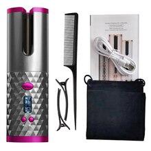Щипцы для завивки волос портативные беспроводные автоматические, утюжок с ЖК-дисплеем и зажимами, USB-зарядка, 1 расческа и 2 шт.
